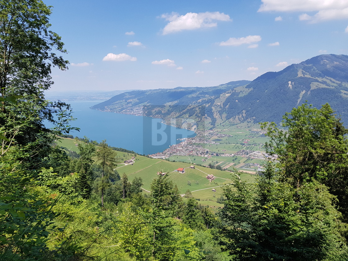 """Swiss Mountain Landscape and Zugersee"" stock image"