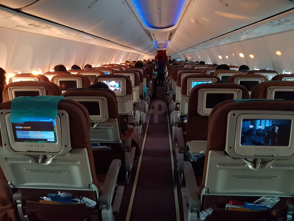 """Garuda Indonesia Boeing 737 Interior"" stock image"