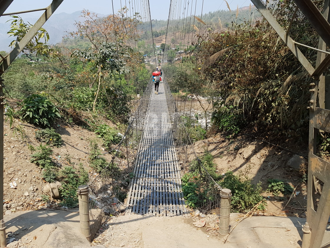"""Pedestrian bridge, Nepal"" stock image"