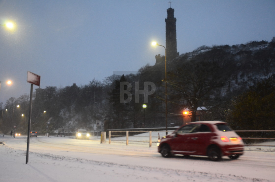 """Calton Hill in Snow"" stock image"