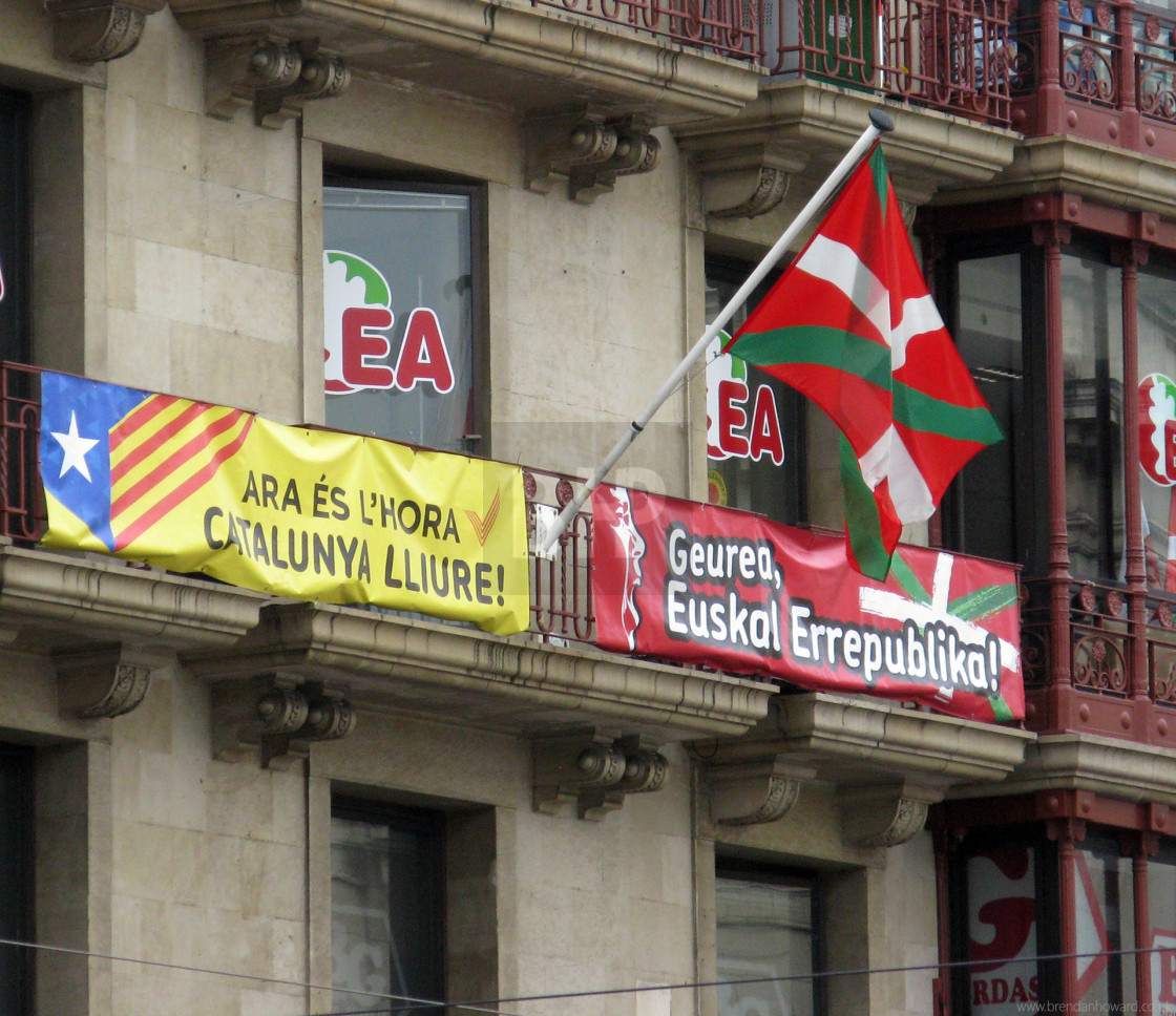 """Basque Flag on Balcony in Bilbao"" stock image"