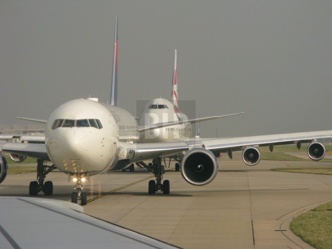 """""""Aeroplanes taxiing for take off"""" stock image"""