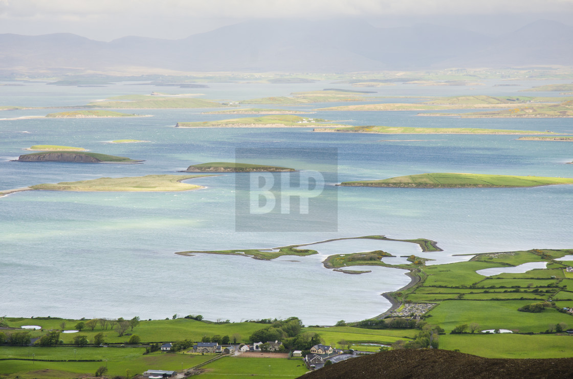 """""""View over Clew Bay from Croagh Patrick, Ireland"""" stock image"""