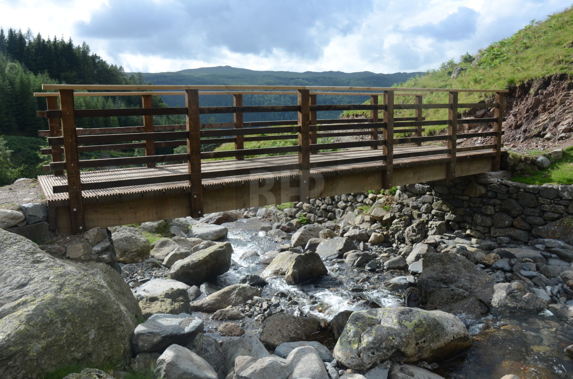 """Bridge over stream, Helvellyn, Lake District"" stock image"