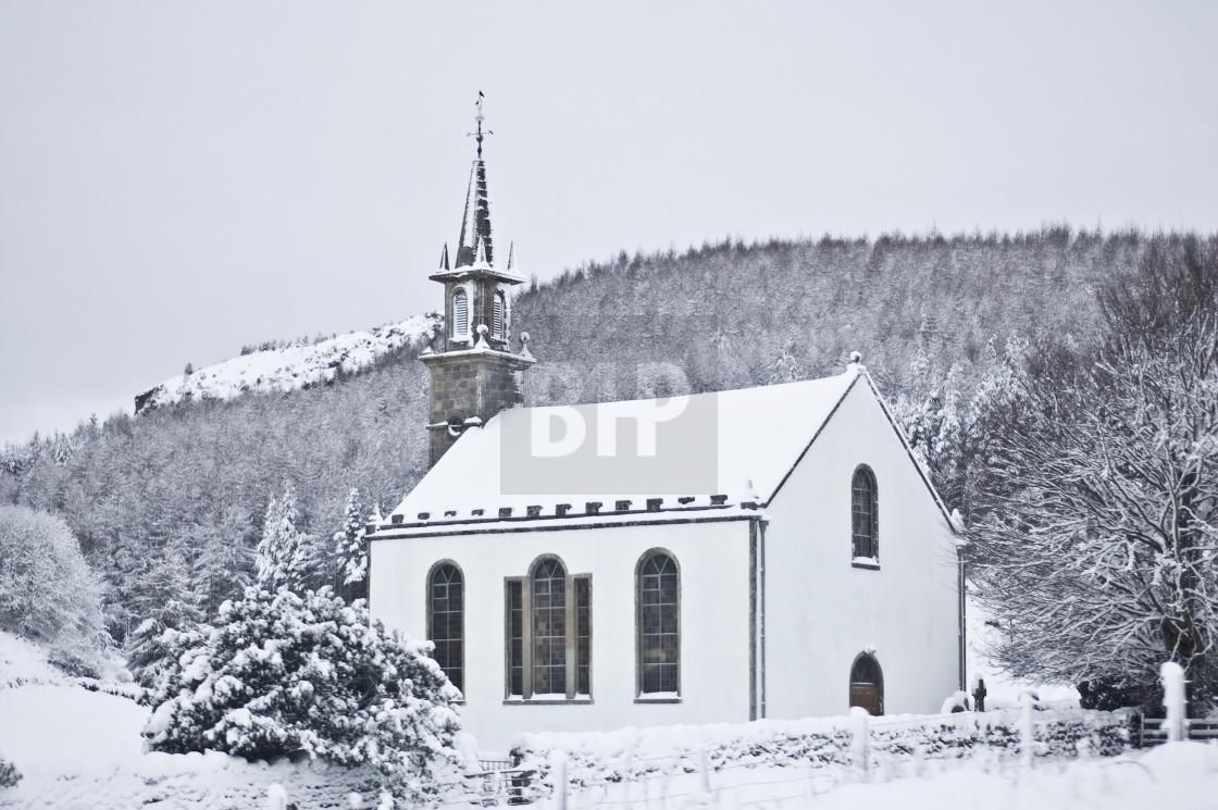 """Scottish Church Winter Scene"" stock image"