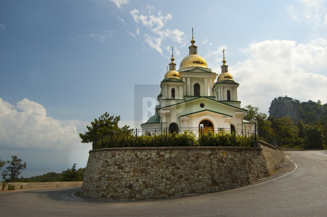 """Church on a Hill in Crimea, Ukraine"" stock image"