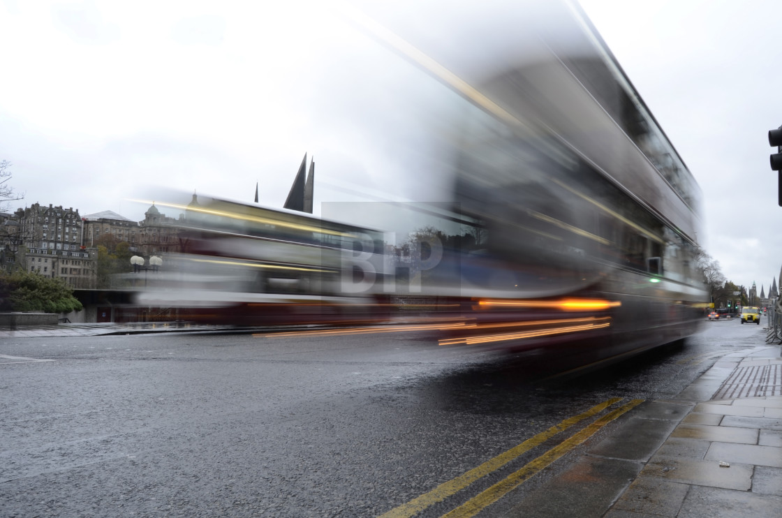 """Lothian Buses on Princes Street, Edinburgh"" stock image"