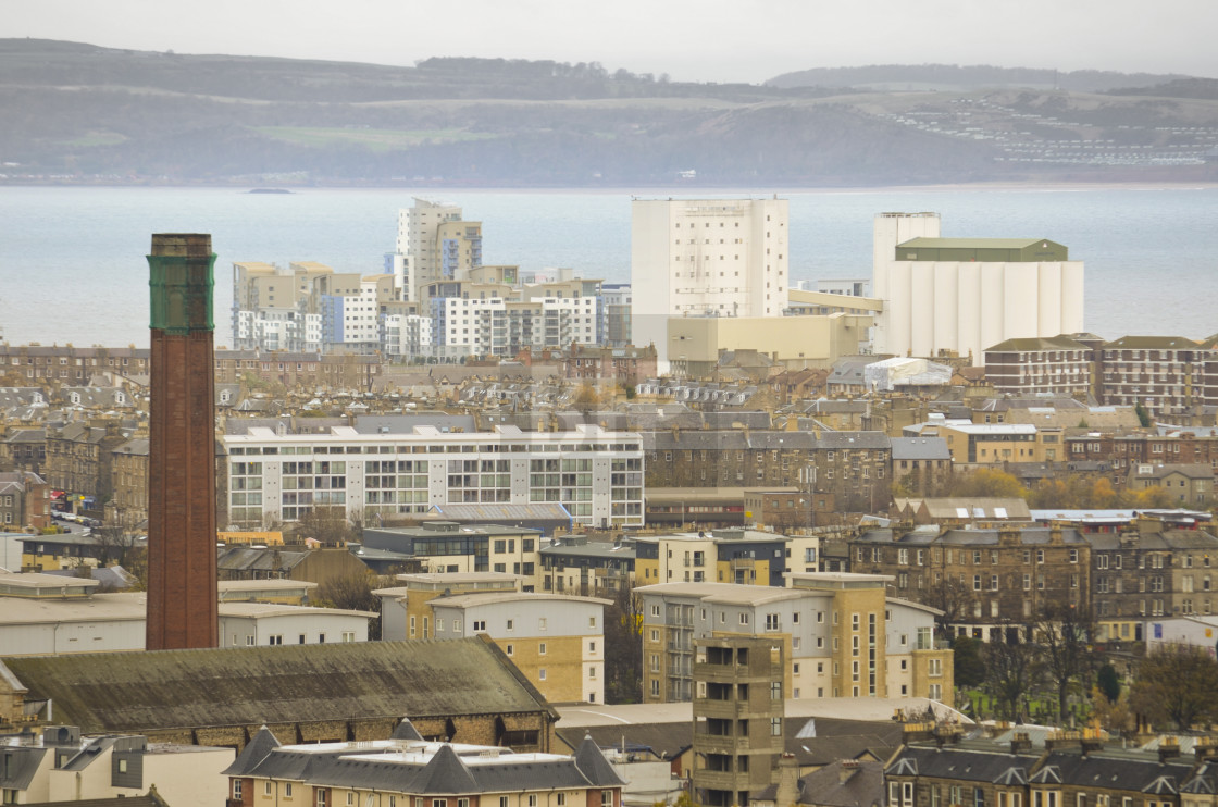 """Leith, Edinburgh from Calton Hill"" stock image"