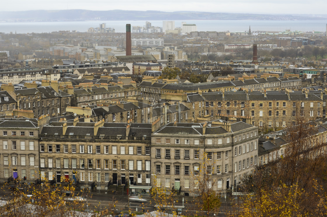 """View north over Edinburgh from Calton Hill"" stock image"