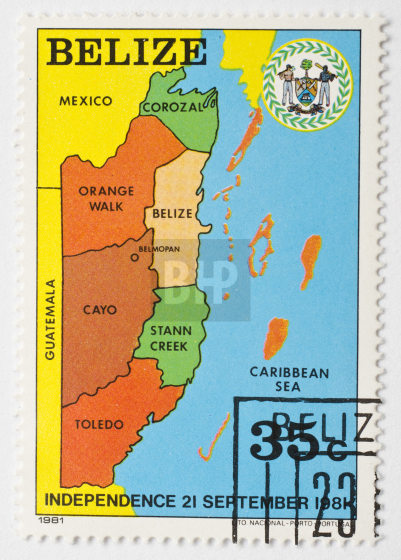 """Belize Postage Stamp, 1981"" stock image"