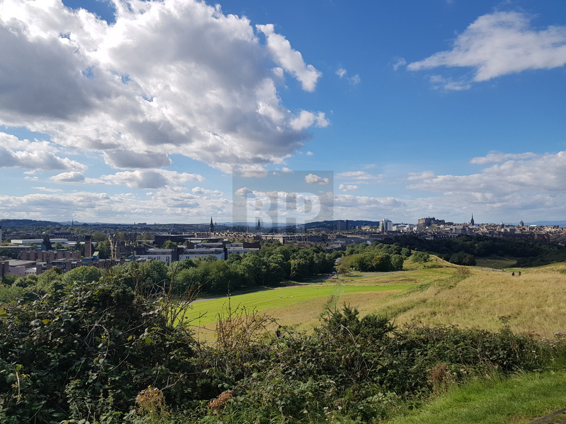 """Edinburgh view from Arthur's Seat"" stock image"