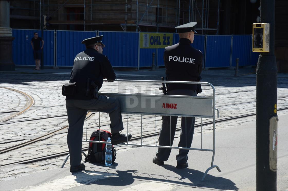 """""""Police in Prague, Czechia"""" stock image"""