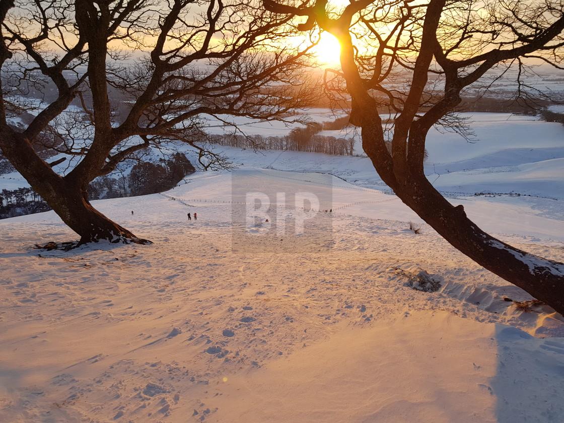 """Sunrise from Pentland Hills, Scotland"" stock image"