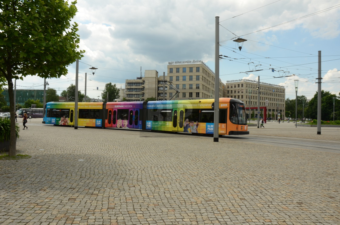 """Tram in Dresden, Germany"" stock image"