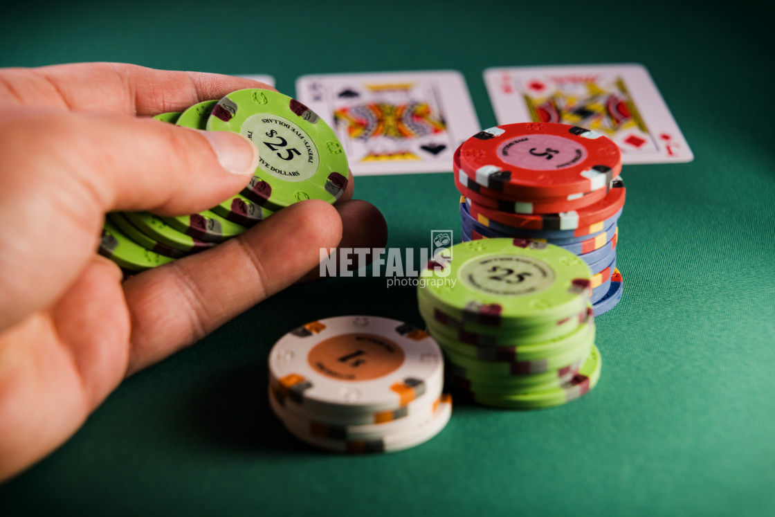 """Poker hand at the casino"" stock image"