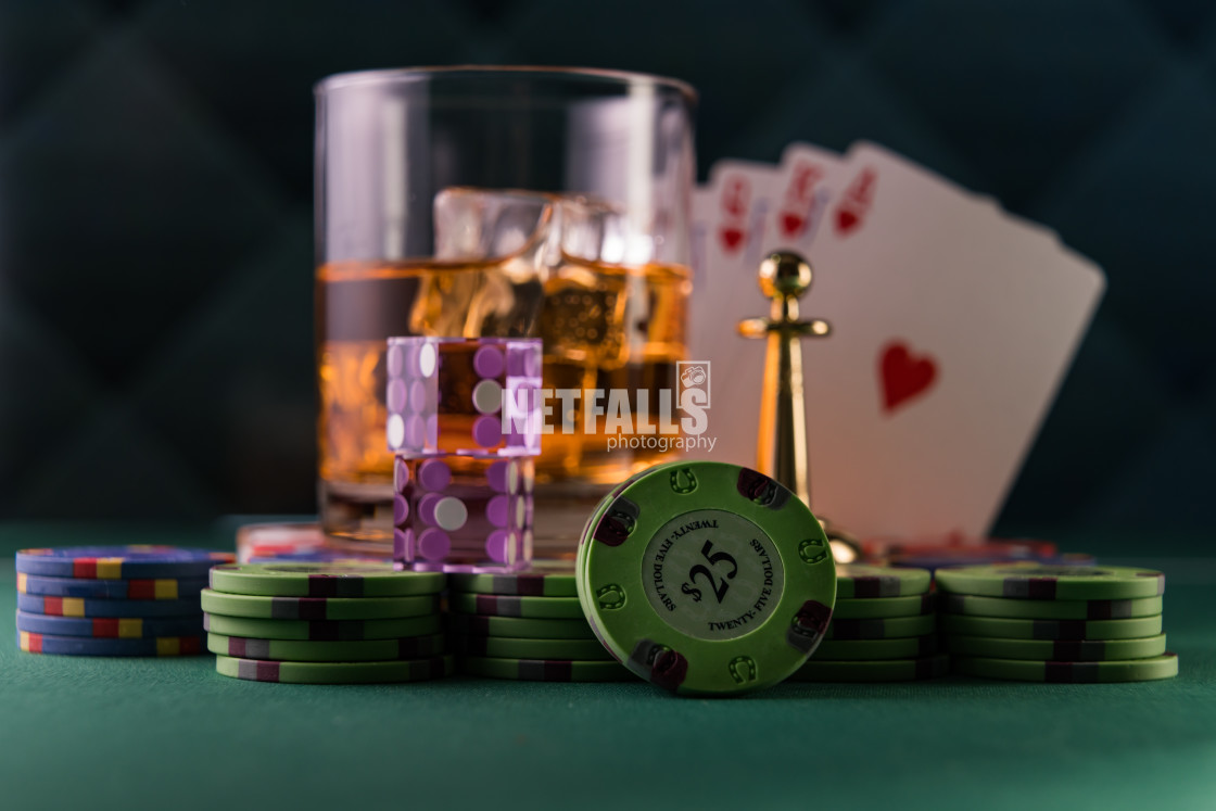 """""""Casino set with Roulette, cards, dice and chips"""" stock image"""