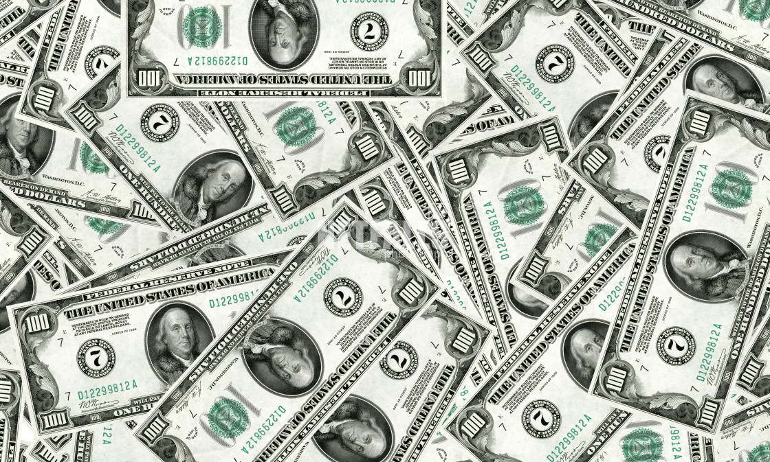 """""""100 USD bank notes"""" stock image"""