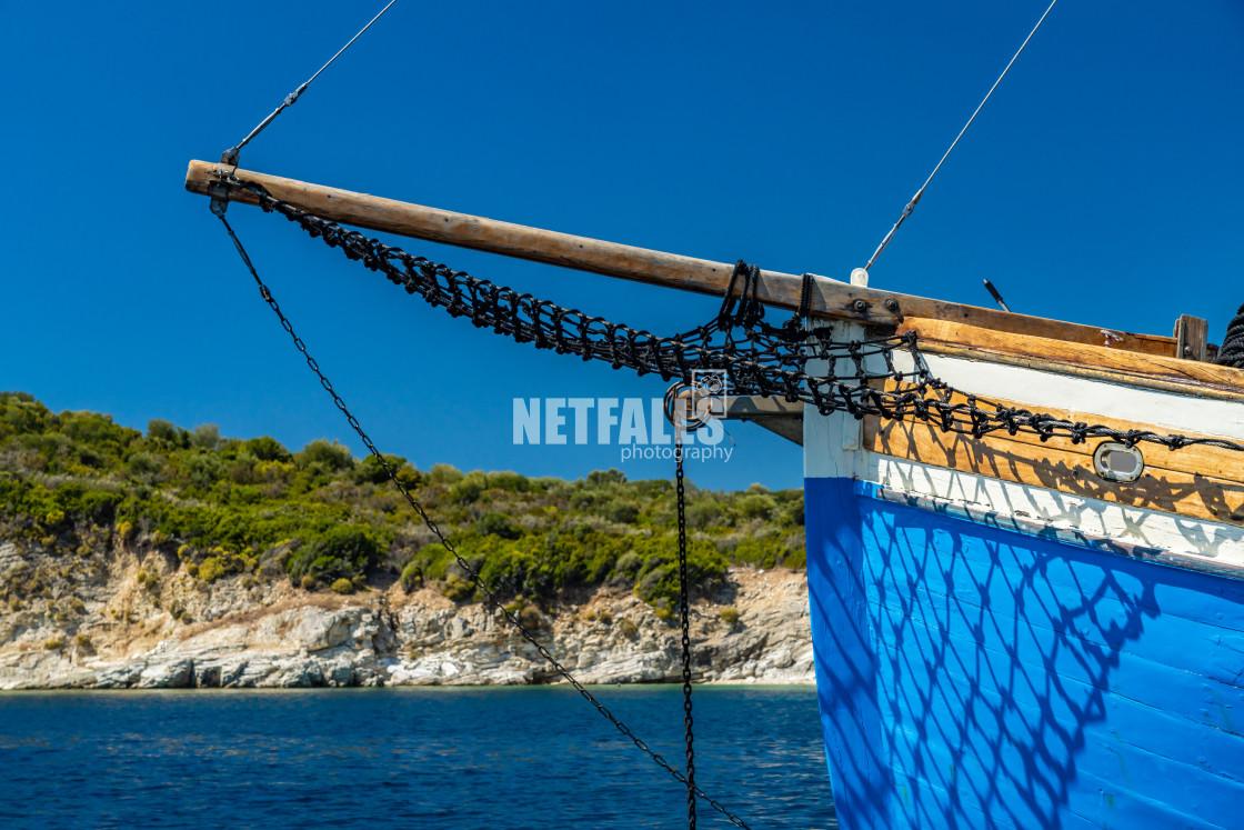"""""""Sailing boat at sea in Meganisi"""" stock image"""