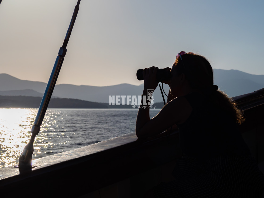 """Woman looking at the sea"" stock image"