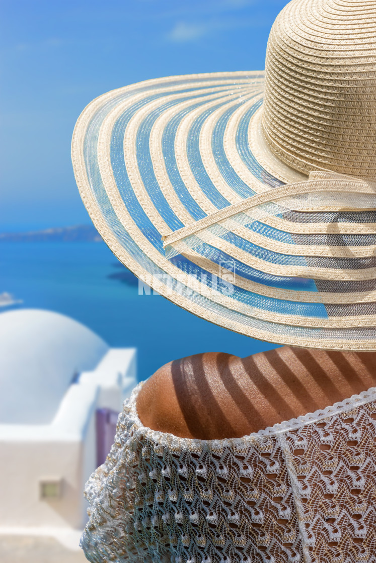 """Woman on holidays in Santorini Greece"" stock image"