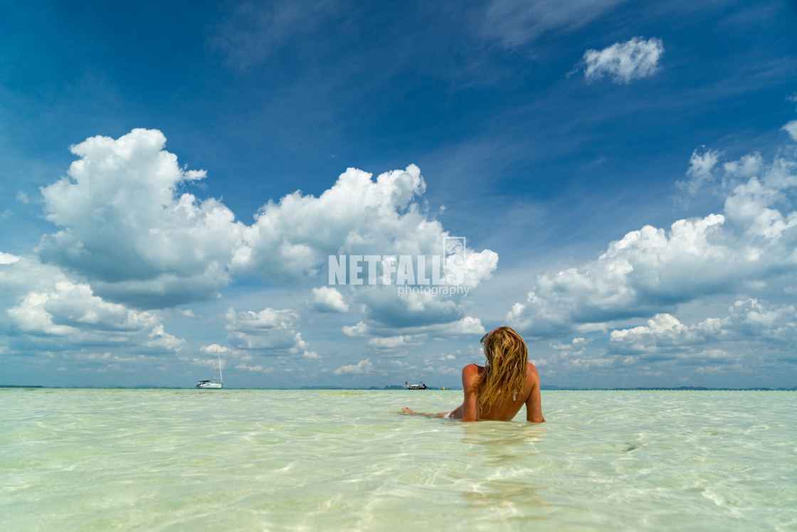 """Woman at the beach in Thailand"" stock image"