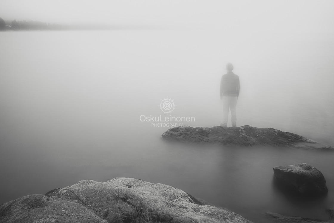 """""""Standing Still II (The Man In A Mist)"""" stock image"""
