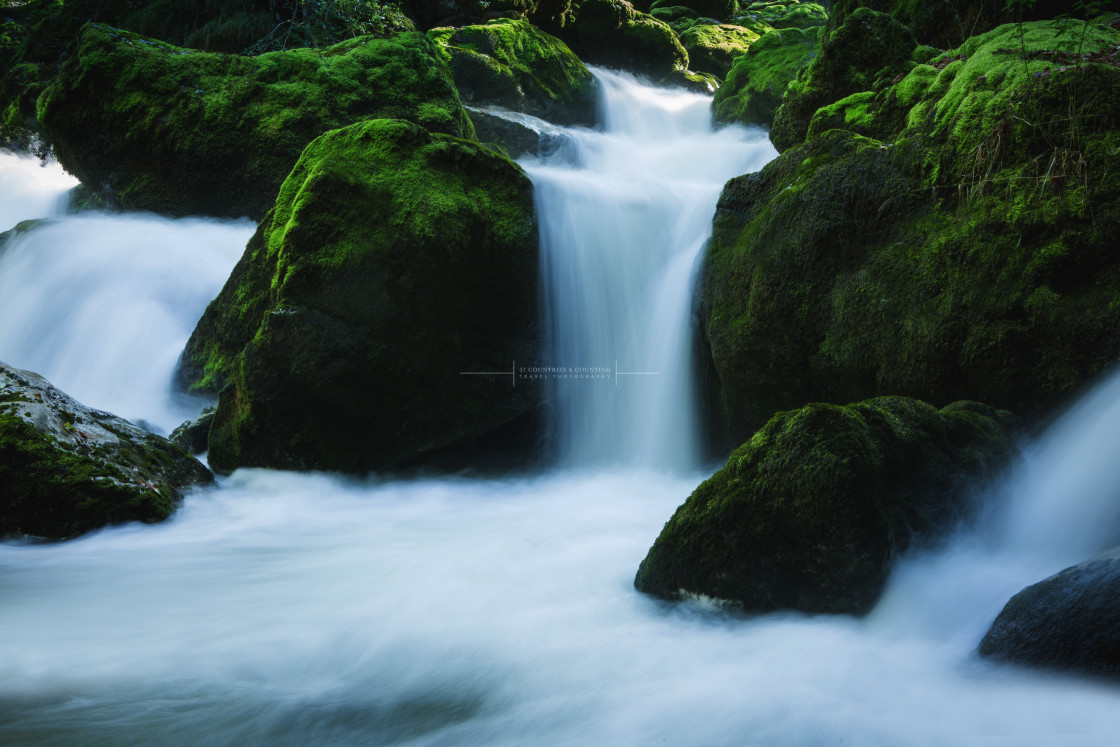 """Waterfalls of Areuse Gorge Switzerland"" stock image"