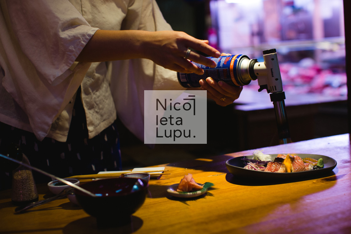 """Japanese food preparation eel"" stock image"