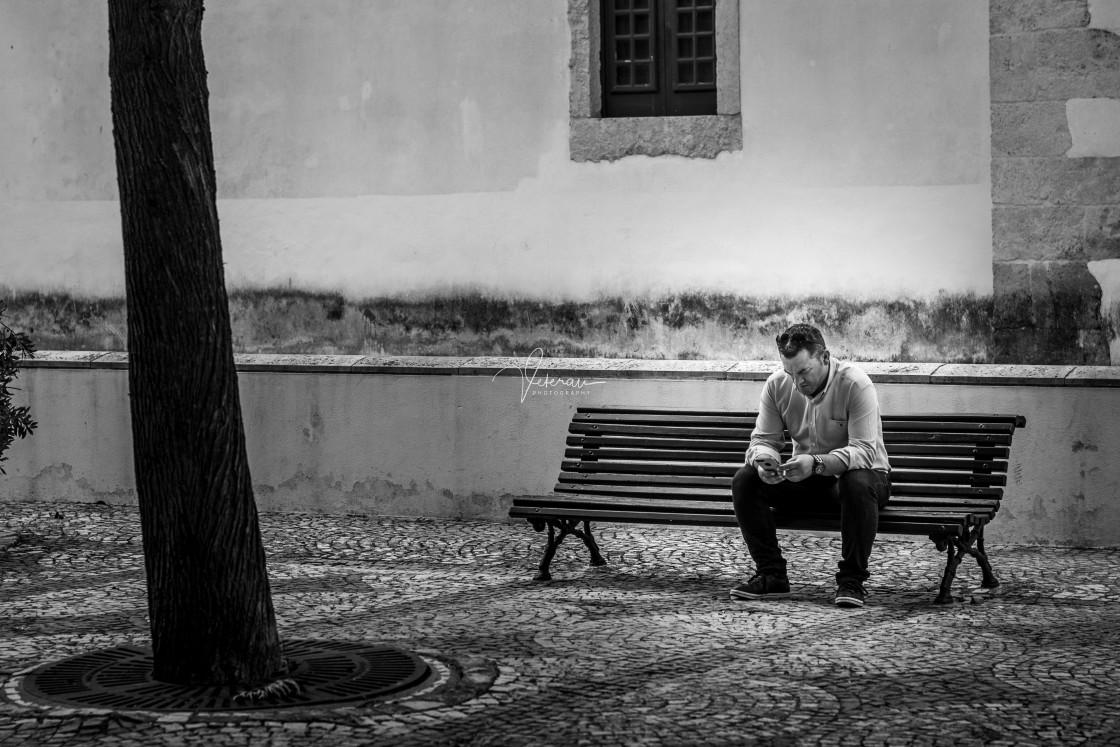 """Man texting, square in Golega Portugal"" stock image"
