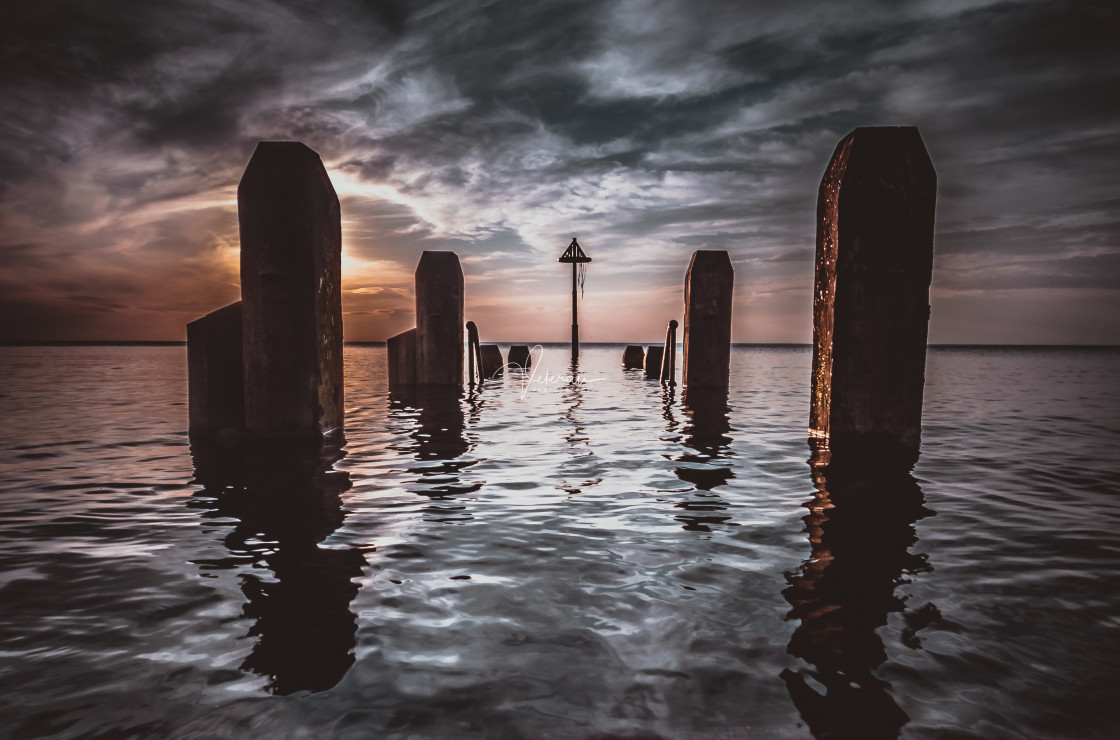 """""""Wooden Jetty at High Tide"""" stock image"""