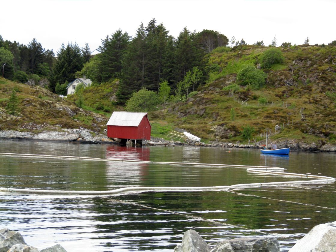 """Dwellings at Froya, Norway coast"" stock image"