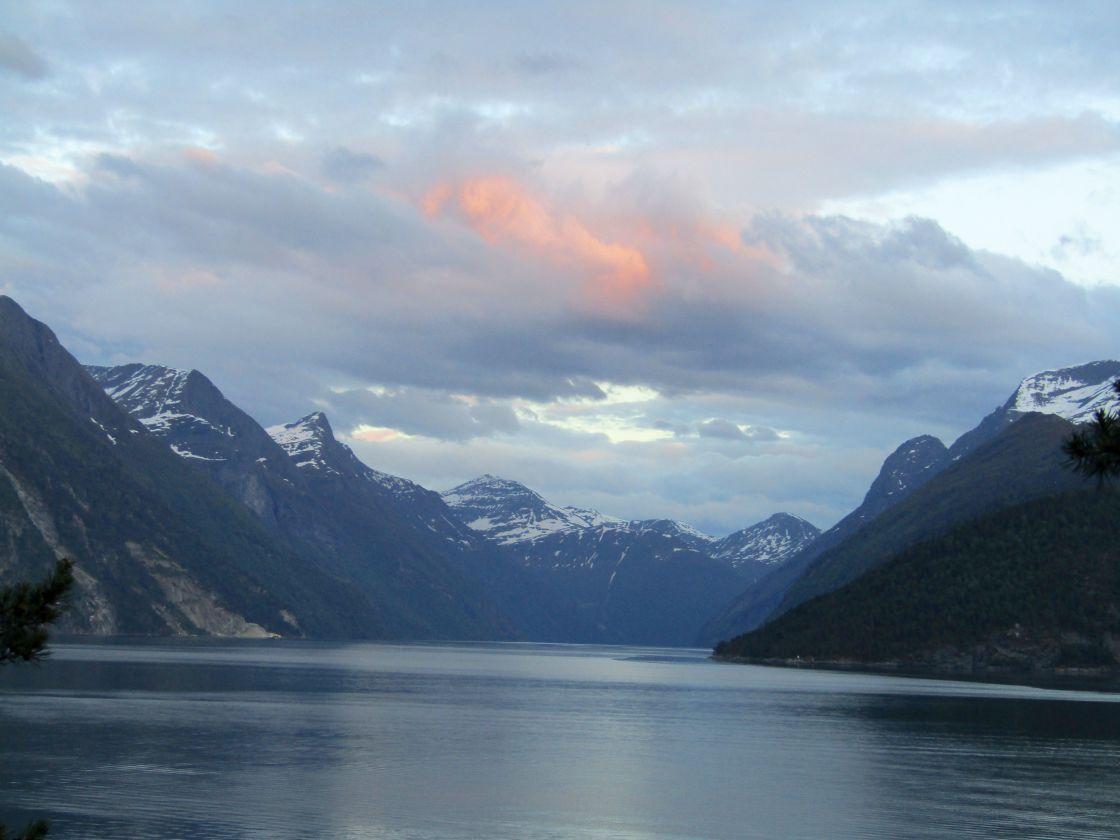 """Stranda, Norway mountain & fjord views"" stock image"