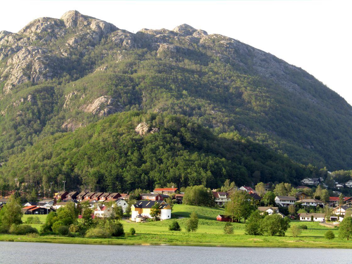 """""""Vikesa, Norway mountain & fjord view"""" stock image"""