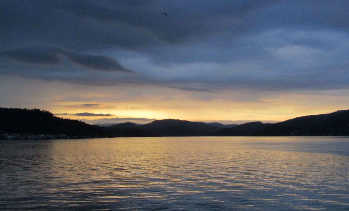 """""""Sunset at Brevik, Norway"""" stock image"""
