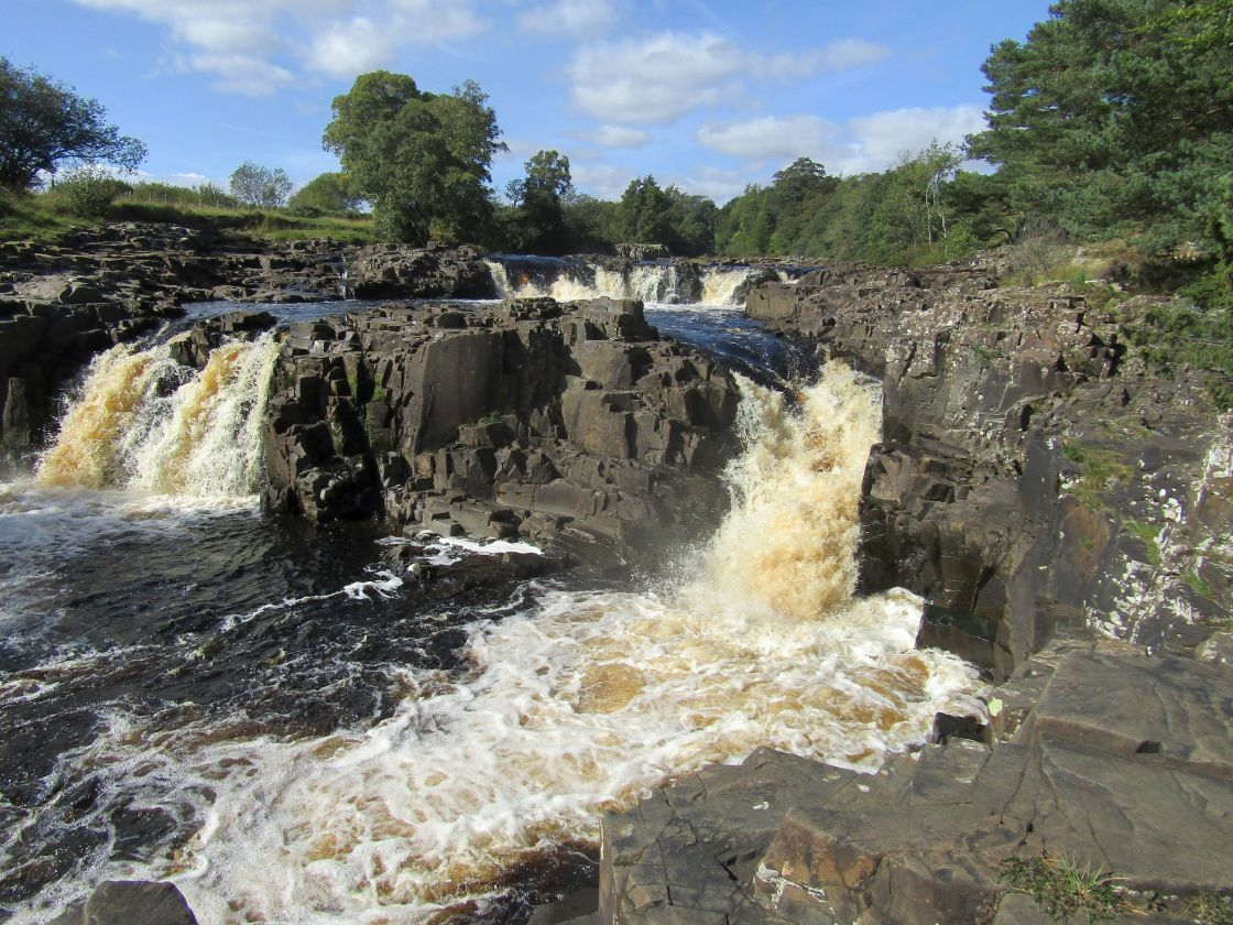 """Low Force waterfall in county Durham"" stock image"