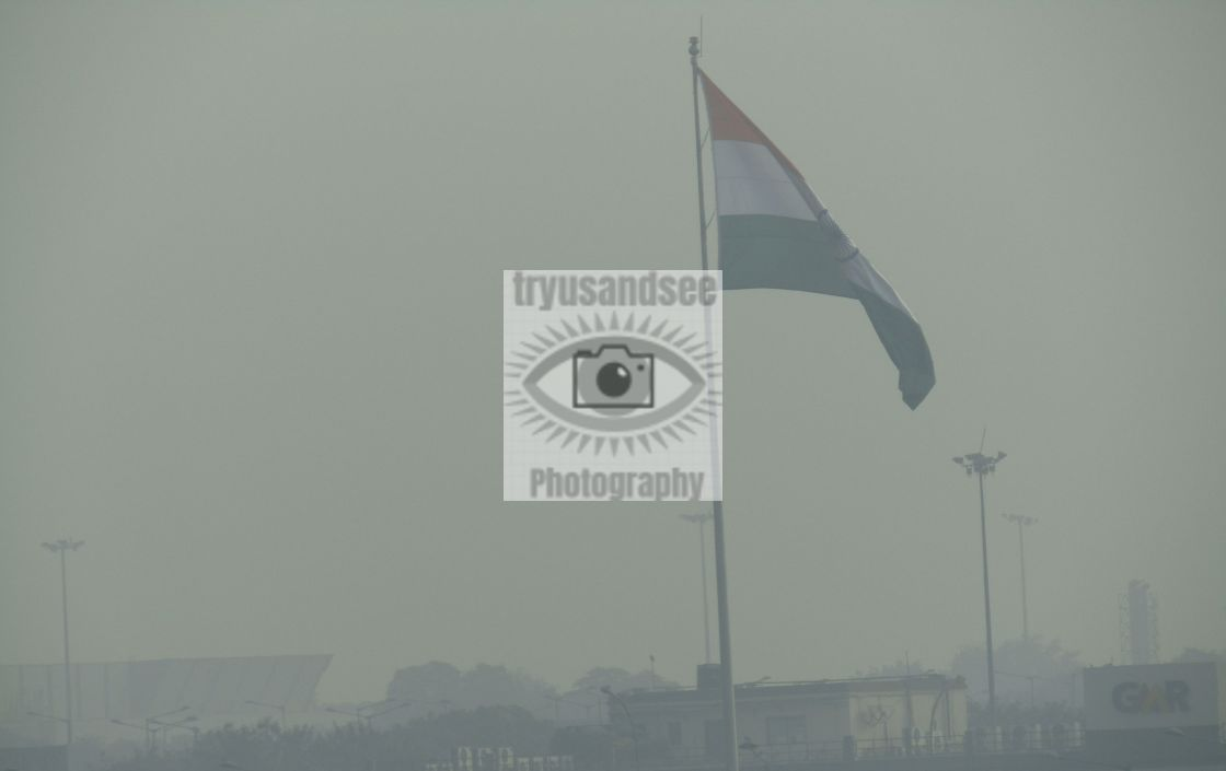 """Smog in India at morning time"" stock image"