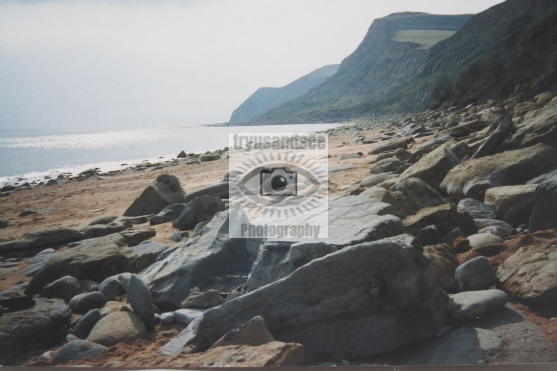 """Eype beach and coastline in Dorset"" stock image"