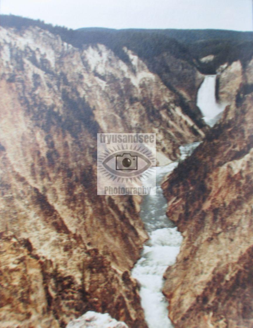 """Yellowstone Park waterfall & gorge"" stock image"