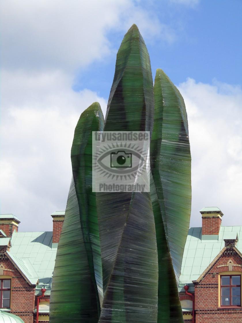 """Green glass sculpture in Umea, Sweden"" stock image"