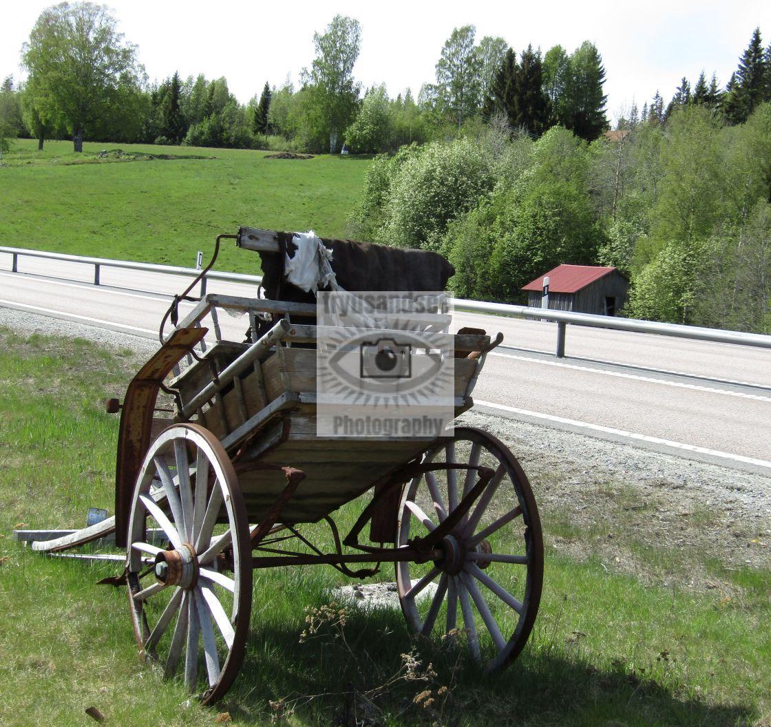 """Old wooden cart in Bjasta, Sweden"" stock image"