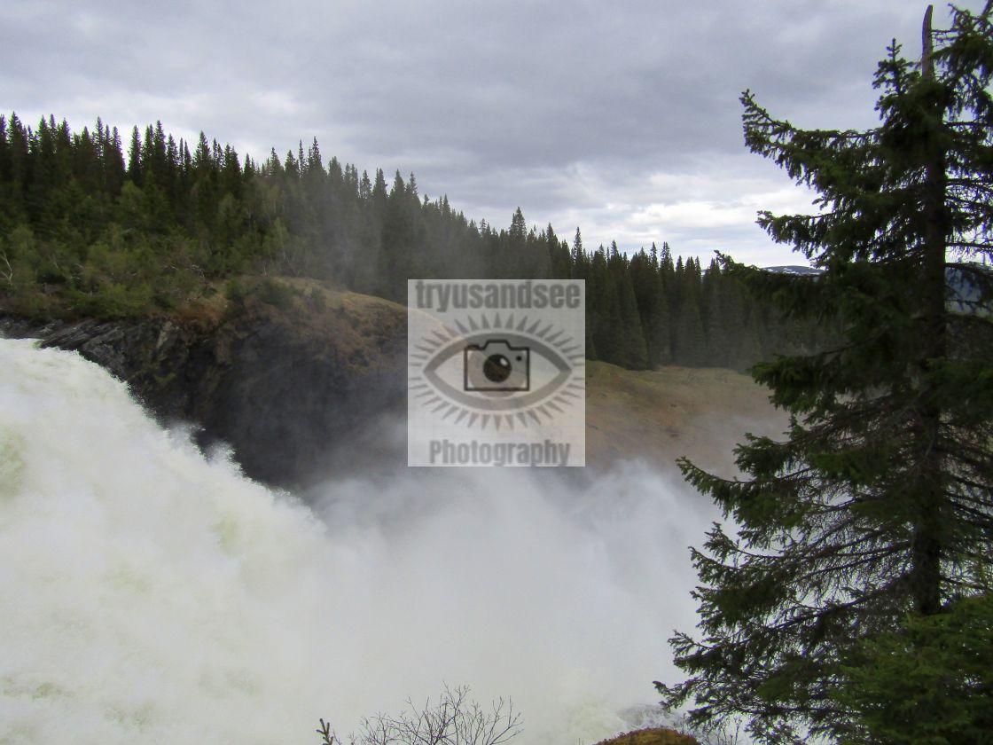 """Top of Sweden's largest waterfall in Tannforsen"" stock image"