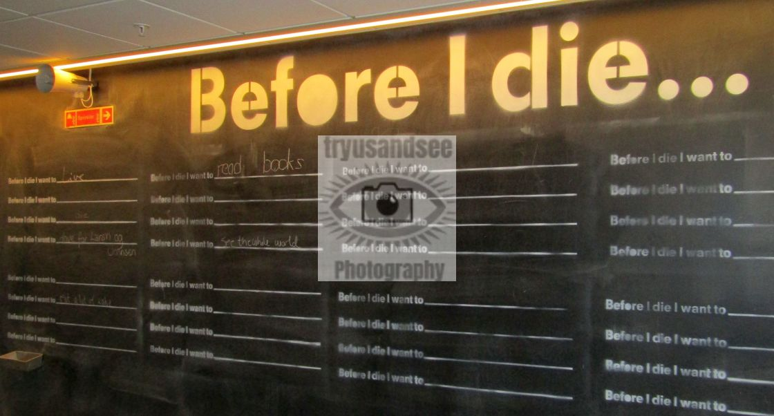 """""""Before I die project board in Trondheim"""" stock image"""
