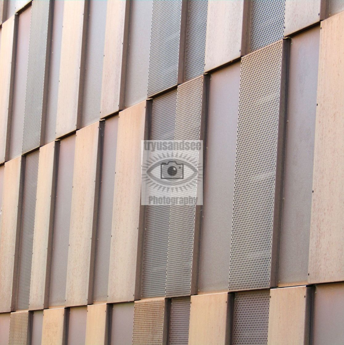 """""""Metallic outside building wall in Trondheim"""" stock image"""