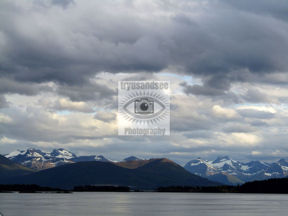 """Romsdal, Norway mountain & fjord views"" stock image"
