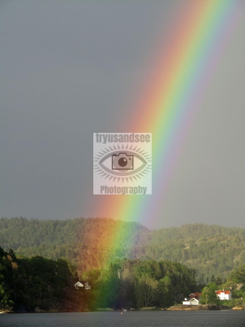 """Rainbow over Brevik, Norway"" stock image"