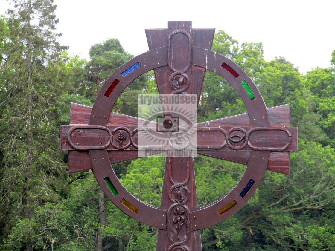 """Celtic cross sculpture at Luss"" stock image"