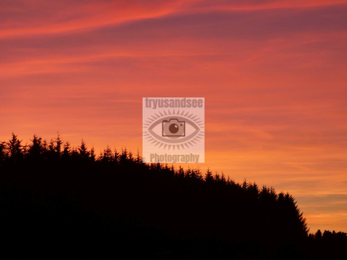 """Red sky and sunset in County Durham"" stock image"