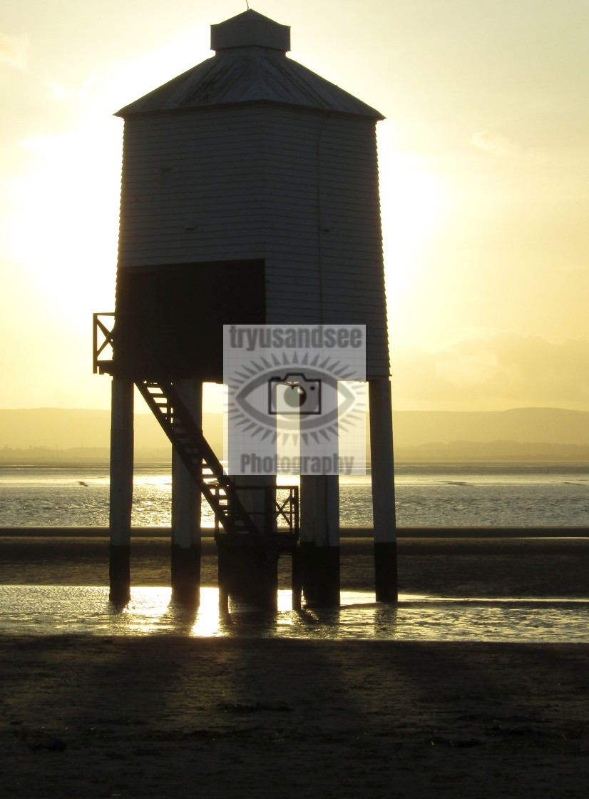 """Burnham-on-Sea Lighthouse at sunset"" stock image"