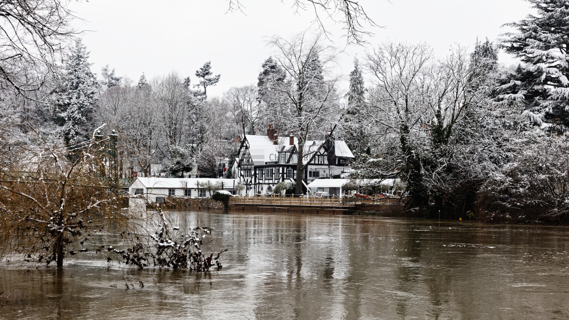 """""""The Boathouse in Floods"""" stock image"""