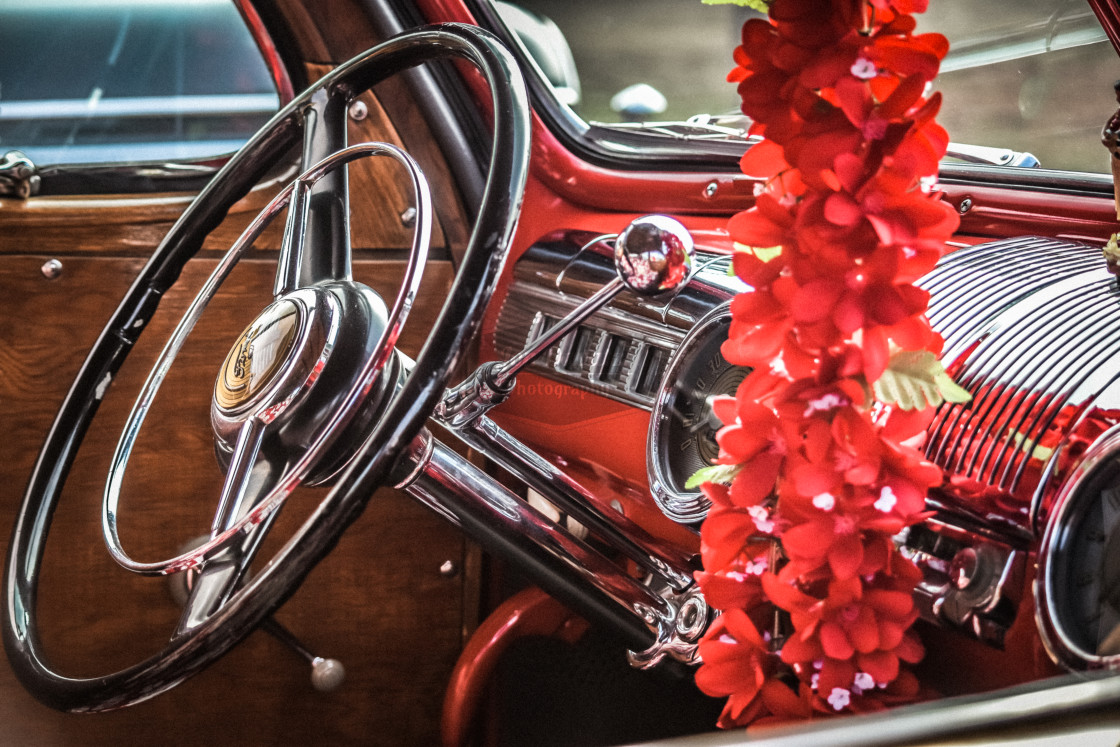"""Vintage Car Interior"" stock image"